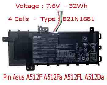 Pin Laptop Asus A512F A512FA A512FL Chính Hãng  ( 15.2V, 64Wh )