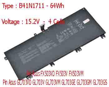 Pin Laptop Asus GL703G GL703GE GL703GM G703GS Chính Hãng  ( 15.2V, 64Wh )